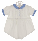 Heirloom White Cotton Romper with Blue Embroidered Collar and Openwork