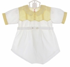 Heirloom 1930s White Cotton Romper with Yellow Embroidered Yoke