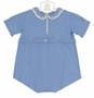 Heirloom 1930s Feltman Brothers Unworn Blue Cotton Romper with Fagoted and Embroidered Collar