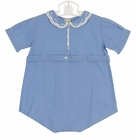 """<img src=""""https://p11.secure.hostingprod.com/@grammies-attic.com/ssl/images/blue-sold-1.gif""""> Heirloom 1930s Feltman Brothers Unworn Blue Cotton Romper with Fagoted and Embroidered Collar"""