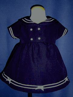 """<img src=""""https://p11.secure.hostingprod.com/@grammies-attic.com/ssl/images/blue-sold-1.gif""""> Youngland Navy Blue Sailor Dress with White Straw Hat"""