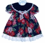 "<img src=""https://p11.secure.hostingprod.com/@grammies-attic.com/ssl/images/blue-sold-1.gif""> Youngland Poinsetta Print Baby Dress with Navy Velvet Collar"