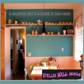 A balanced diet is a cookie in each hand Wall Quote Mural Decal SWD