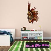 Aztec Eagle Warrior Wall Decal - Wall Fabric - Repositionable Decal - Vinyl Car Sticker - usc002