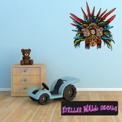 Aztec Eagle Warrior Wall Decal - Wall Fabric - Repositionable Decal - Vinyl Car Sticker - usc005