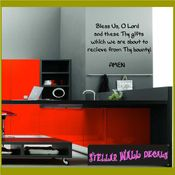 Bless us, o lord and these thy gifts which we are about to receive from thy bounty AMEN Wall Quote Mural Decal SWD