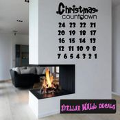 Calendar Christmas Countdown 25 Days Snow Flakes Vinyl Calendar Wall Quote Mural Decal CA015 SWD