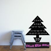 Calendar Christmas Tree Christmas Countdown 25 Days Vinyl Calendar Wall Quote Mural Decal CA013 SWD