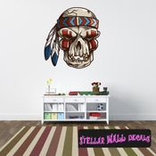 Chief Native American Skull Wall Decal - Wall Fabric - Repositionable Decal - Vinyl Car Sticker - usc002