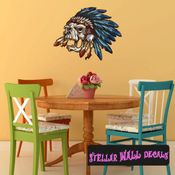 Chief Native American Skull Wall Decal - Wall Fabric - Repositionable Decal - Vinyl Car Sticker - usc003