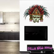 Chief Native American Skull Wall Decal - Wall Fabric - Repositionable Decal - Vinyl Car Sticker - usc004
