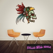 Chief Native American Skull Wall Decal - Wall Fabric - Repositionable Decal - Vinyl Car Sticker - usc005