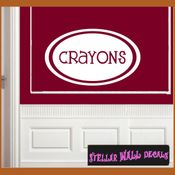 Crayons School Craft Supplies Labels Vinyl Wall Decal Sticker Mural Quotes Words LB005crayons SWD