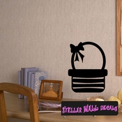 Easter basket with ribbon Easter Eggs Holiday Egg Wall Decals - Wall Quotes - Wall Murals CP057 SWD