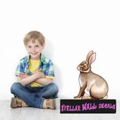 Easter Bunny Wall Decal - Wall Fabric - Repositionable Decal - Vinyl Car Sticker - usc001