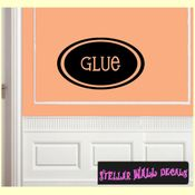 Glue School Craft Supplies Labels Vinyl Wall Decal Sticker Mural Quotes Words LB005glue SWD