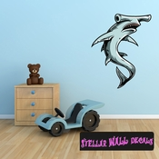Hammerhead Shark Wall Decal - Wall Fabric - Repositionable Decal - Vinyl Car Sticker - usc003