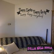 Happy Easter Happy Spring Happy Happy Everything Easter Holiday Wall Decals - Wall Quotes - Wall Murals HD008 SWD