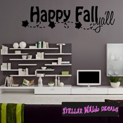 Happy Fall Yall Thanksgiving Fall Holiday Wall Decals - Wall Quotes - Wall Murals HD028 SWD