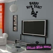 Happy New Year New Year's years Holiday Wall Decals - Wall Quotes - Wall Murals HD155 SWD