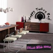 Happy Turkey Day Thanksgiving Fall Holiday Wall Decals - Wall Quotes - Wall Murals HD137 SWD