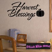 Harvest Blessings Thanksgiving Fall Holiday Wall Decals - Wall Quotes - Wall Murals HD139 SWD