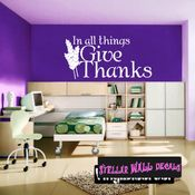 In All things give thanks Thanksgiving Fall Holiday Wall Decals - Wall Quotes - Wall Murals HD140 SWD