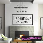 Lemonade 25 cents Summer Holiday Wall Decals - Wall Quotes - Wall Murals HD002 SWD