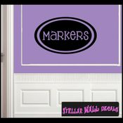 Markers School Craft Supplies Labels Vinyl Wall Decal Sticker Mural Quotes Words LB005markers SWD