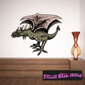 Mythical Creature Dragon Wall Decal - Wall Fabric - Repositionable Decal - Vinyl Car Sticker - usc020