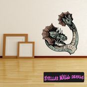 Mythical Creature Hydra Wall Decal - Wall Fabric - Repositionable Decal - Vinyl Car Sticker - usc007