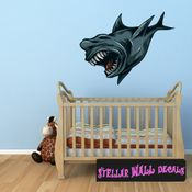 Mythical Creature Megalodon Shark Wall Decal - Wall Fabric - Repositionable Decal - Vinyl Car Sticker - usc051