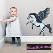 Mythical Creature Pegasus Wall Decal - Wall Fabric - Repositionable Decal - Vinyl Car Sticker - usc033