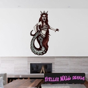 Mythical Creature Siren Wall Decal - Wall Fabric - Repositionable Decal - Vinyl Car Sticker - usc010