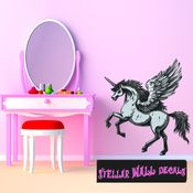 Mythical Creature Unicorn Wall Decal - Wall Fabric - Repositionable Decal - Vinyl Car Sticker - usc045