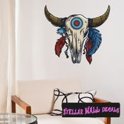 Native American Cow Skull Wall Decal - Wall Fabric - Repositionable Decal - Vinyl Car Sticker - usc001