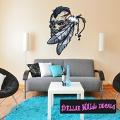 Native American Skull Feather Wall Decal - Wall Fabric - Repositionable Decal - Vinyl Car Sticker - usc006