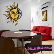 Occult Sun Moon Wall Decal - Wall Fabric - Repositionable Decal - Vinyl Car Sticker - usc007