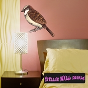 Perched Bird Wall Decal - Wall Fabric - Repositionable Decal - Vinyl Car Sticker - usc014
