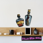Pirate Bottle Wall Decal - Wall Fabric - Repositionable Decal - Vinyl Car Sticker - usc003