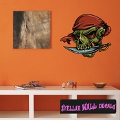 Pirate Skull Wall Decal - Wall Fabric - Repositionable Decal - Vinyl Car Sticker - usc001