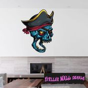 Pirate Skull Wall Decal - Wall Fabric - Repositionable Decal - Vinyl Car Sticker - usc004