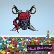 Pirate Skull Wall Decal - Wall Fabric - Repositionable Decal - Vinyl Car Sticker - usc005