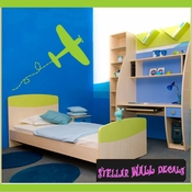 Plane Toy Airplane with Trail Transportation Vinyl Wall Decal Sticker Mural Quotes Words CP059 SWD