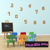 Room Element Numbers Wall Decal - Wall Fabric - Repositionable Decal - Vinyl Car Sticker - usc002