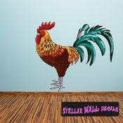Rooster Wall Decal - Wall Fabric - Repositionable Decal - Vinyl Car Sticker - usc001
