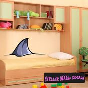 Shark Fin Wall Decal - Wall Fabric - Repositionable Decal - Vinyl Car Sticker - usc004