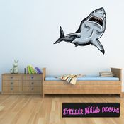 Shark Wall Decal - Wall Fabric - Repositionable Decal - Vinyl Car Sticker - usc005