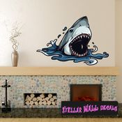 Shark Wall Decal - Wall Fabric - Repositionable Decal - Vinyl Car Sticker - usc006