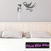 Swallow Lock and Key Love Birds Wall Decal - Wall Fabric - Repositionable Decal - Vinyl Car Sticker - usc008